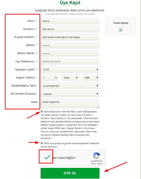 İddaa.com Kayıt Olma Ekranı